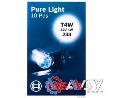 Лампа PURE LIGHT T4W 12V (Картон) (10шт